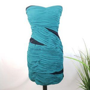 Lush Teal and Black Strapless Bandage Dress Small